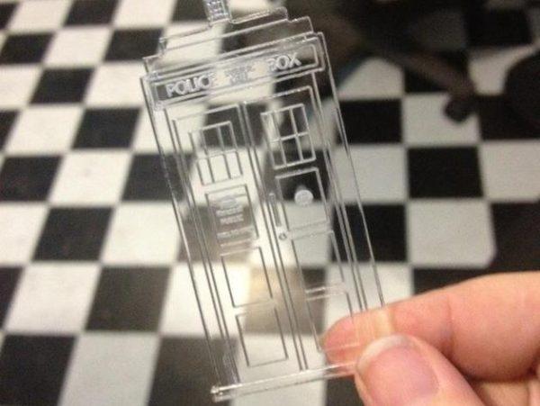 Laser engraved tardis