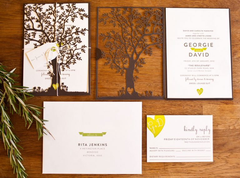 Nature-Inspired Laser Cut and Letterpress Wedding Invitations   Oh So Beautiful Paper