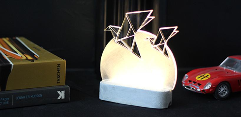 Laser cut bird lamp