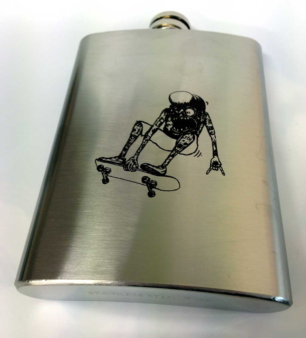 laser etched hip flask