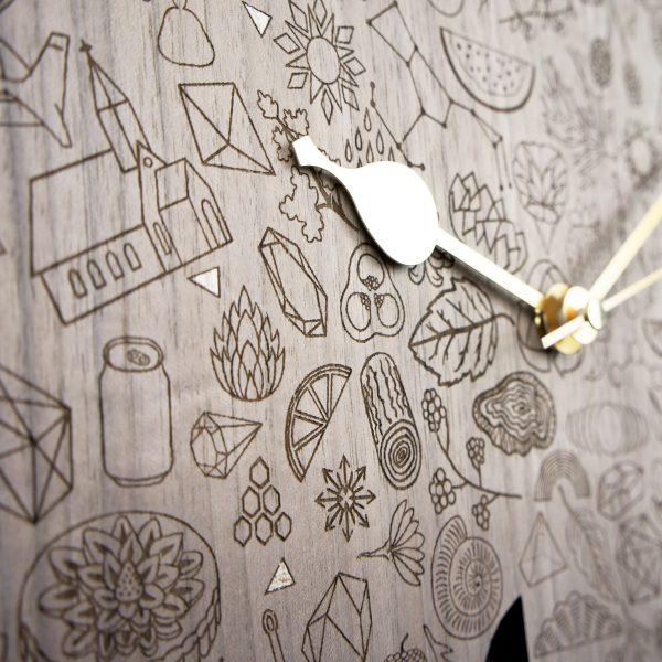 Close up of laser engraved Bear clock
