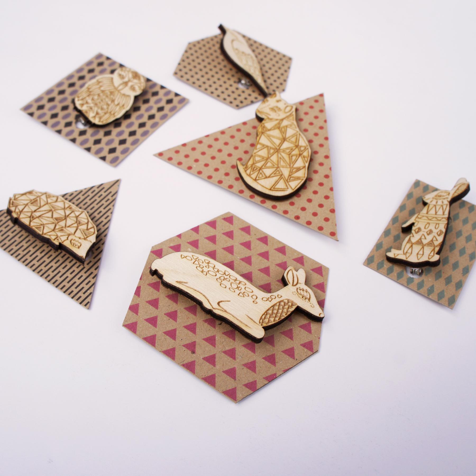Kirsty Baynham laser engraved brooches