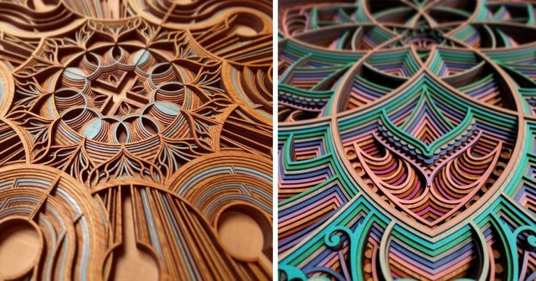 Cut Plywood Relief Sculptures Embedded with Mandalas and Geometric Patterns – Gabriel Schama
