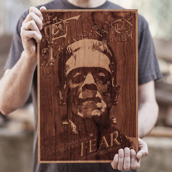 Frankenstein art wood engraving